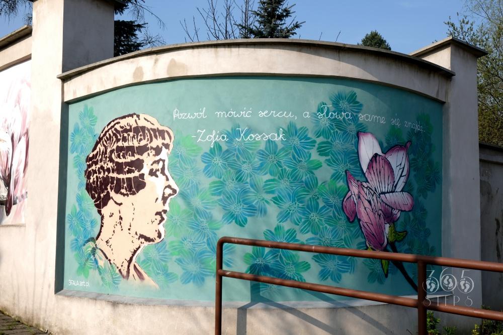 Mural upamiętniający Zofię Kossak w Cieszynie przedstawia Zofię Kossak, cieszyńską magnolię, a w tle cieszynianki